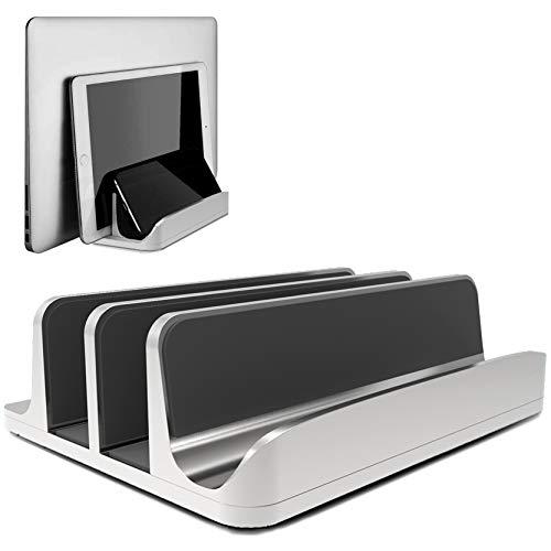 Geecol最新版ノートパソコン スタンド 縦置き 収納 ホルダー ユニバーサル PCスタンド 幅調節可能 MacBook/iPad/iphone/フォルダー/本/PC/タブレット等あらゆるノートパソコンに対応します アルミ製 在宅勤務 スペース 銀