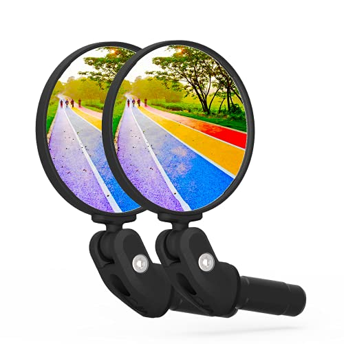 BriskMore Bike Mirrors, HD Glass Convex Lens Bicycle Rearview Mirror, 2PCS Safe Cycling Rear View Mirror, Adjustable Handlebar Wider View Bicycles Mirror for Scooter Road Mountain Bikes
