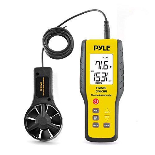 Pyle PMA90 Digital Anemometer / Thermometer for Air Velocity, Air Flow, Temperature -