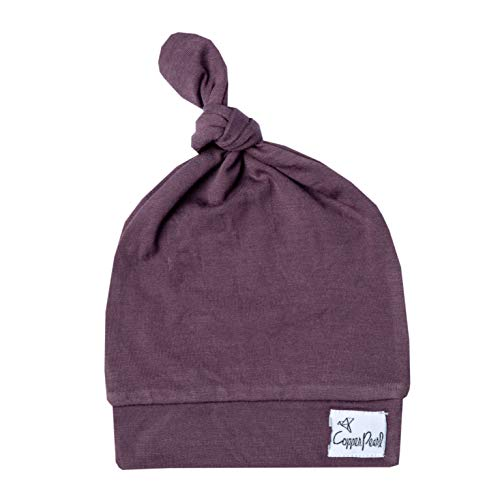 Copper Pearl Baby Beanie Hat Top Knot Stretchy Soft Plum