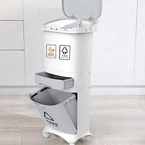JGB-SNHSX 3 Layer Classificatie prullenbak Keuken Plastic Vuilnisbak natte en droge Push Button Recycle Stacked Sorteren vuilnisbak Met Wiel (Capacity :)12L, Color : Two Layer)