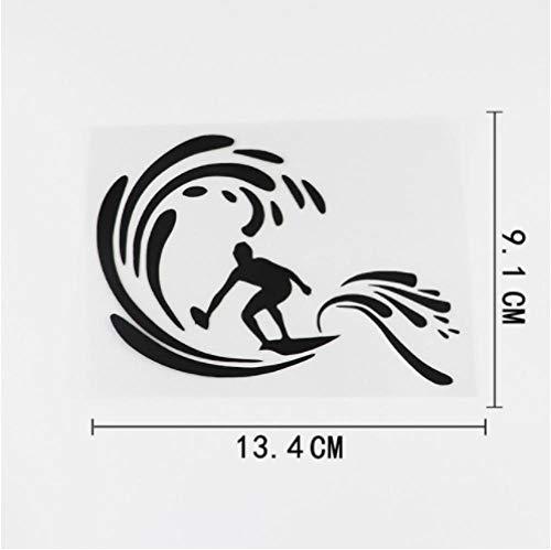 GenericBrands 4 Piezas Pegatina para Coche 13,4 cm x 9,1 cm extraíble Tabla de Surf para Surf calcomanía de Playa Vinilo Pegatina para Coche Negro