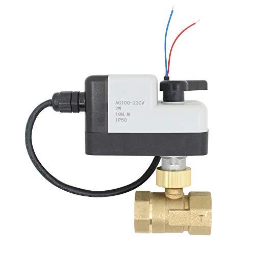 100~230V - 2 cables valvula 2 vias motorizada manual electrovalvula normalmente cerrada...
