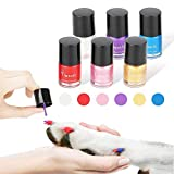 lesotc Dog Nail Polish Set, 6 Color Set (Pink, Purple, Red, Gold, Blue, Silver), Non-Toxic Water-Based Pet Nail Polish, Natural and Safe, Suitable for All Pet (Birds, Mice, Pigs and Rabbit)