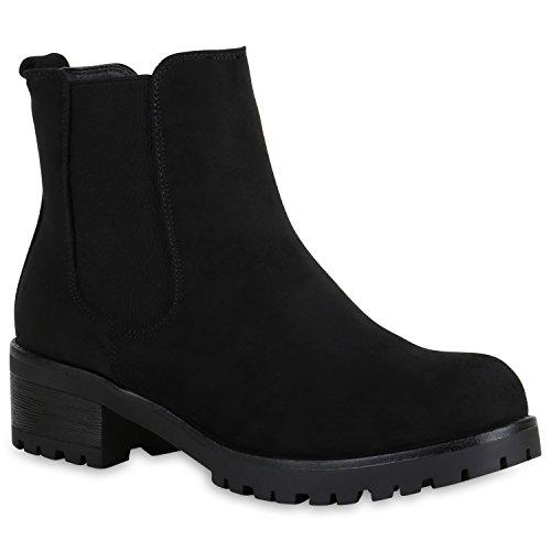 Damen Schuhe Chelsea Boots Wildleder-Optik Stiefeletten Leicht Gefüttert 151396 Schwarz Avelar 38...
