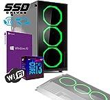 PC DESKTOP GAMING INTEL QUAD CORE I3-8100 UP TO 3,6 GHZ/CASE IN VETRO MYKA CRISTAL SMERALD CON 3 VENTOLE HALO VERDE/MB HDMI VGA DVI/RAM 8Gb DDR4/SSD 480GB /WIFI 300MB/WINDOWS 10 PRO