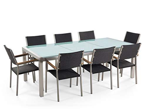 Beliani - Table de Jardin et 8 Chaises - Grosseto - Plateau Triple en Verre Effet Brisé, 220x100 cm, Chaises en Rotin, Transparent et Noir