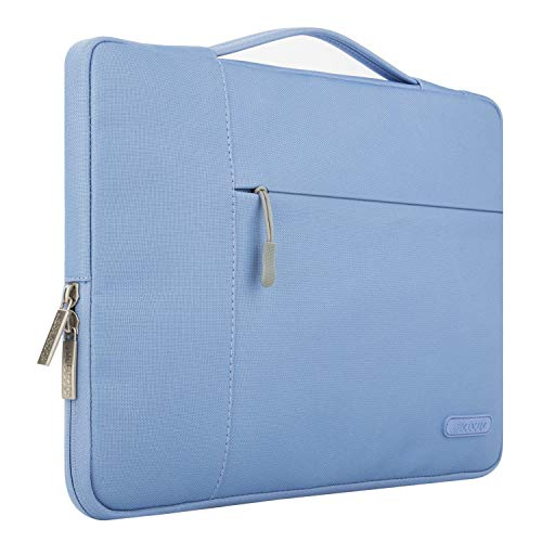 MOSISO Laptop Briefcase Compatible with MacBook Pro 16 inch, 15 15.4 15.6 inch Dell Lenovo HP Asus Acer Samsung Sony Chromebook, Polyester Multifunctional Sleeve Carrying Bag, Serenity Blue