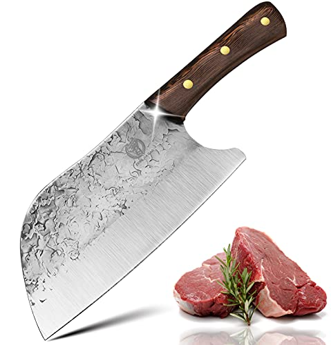 Forged Serbian Chef Knife Butcher Knife Chinese Vegetable Cleaver Hand Made High Carbon Stainless Steel Full Tang Wood Handle for Slicing Meat Vegetable for Home BBQ Camping