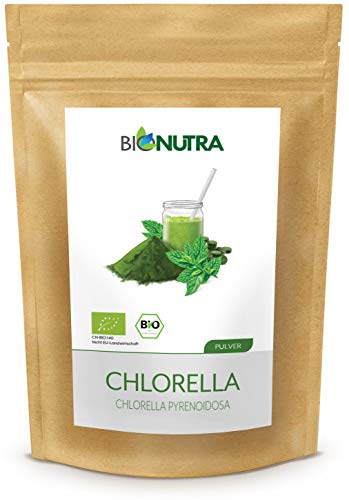 BioNutra® Chlorella poeder biologisch, gebroken celwanden, 500 g, 100% puur natuur, residu-gecontroleerd, gekweekt en vervaardigd volgens EU-bio-standaard