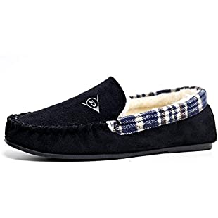 Dunlop Mens Famous George Moccasin Loafers Faux Sheepskin Fur Slippers With Rubber Sole (11 UK, Black Multi)
