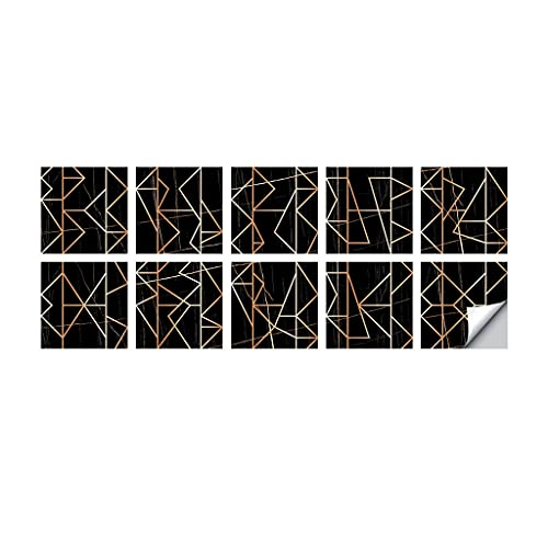 Haorw Etiquetas engomadas de la baldosa, Etiquetas engomadas Autoadhesivas de Las Etiquetas de la baldosa de la Pared para la geometría del Bronce de la decoración del Cuarto de baño