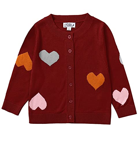 Danna Belle Toddler Girls Long Sleeve Cardigan Sweater Hollow Out Outer Coat for 12-18 Red