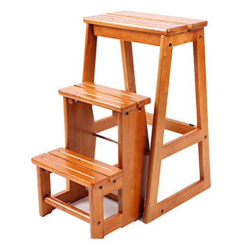 ZGYQGOO Escalera plegable taburete multifuncional portátil de doble uso 3 peldaños antideslizantes Widen Pedal reposapiés estante goma madera miel altura 640 mm muebles