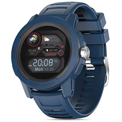 moreFit Fitness Armband Uhr, Voller Touch Screen Smartwatch Rund Sportuhr mit Pulsmesser Stoppuhr Pulsuhr Wecker Wasserdicht Fitnessuhr Schrittzähler Für Damen Herren iOS Android Kompatibel