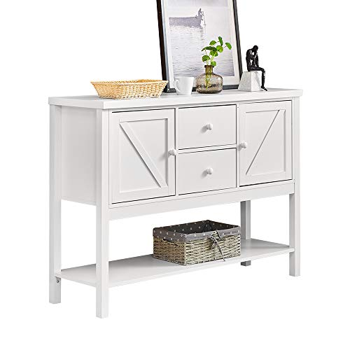 Modern Living Room Console Table White Door Designed with Drawers and Storage Shelf for Entryway Hallway, Wooden Decor Entry Table Long Sofa Side Table 47inches for Home Porch