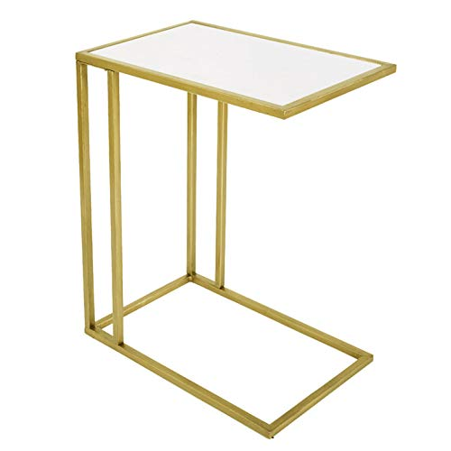 RiteSune Modern C-Shaped Sofa Side Table with Gold Metal Base and Rectangular Marble Top for Coffee, Laptop, Living Room or Bedroom