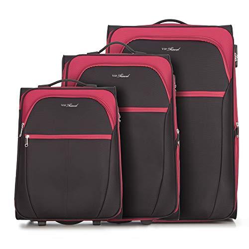 WITTCHEN Koffer – Set of 3 | Textil, material: polyester | hochwertiger und stabiler | Schwarz/Rot | verschiedene Größen