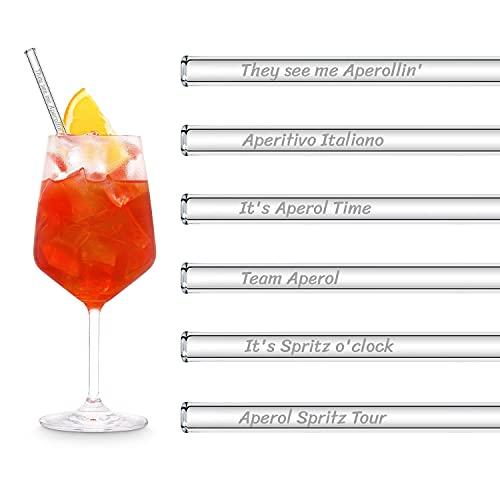 HALM Glasstrohhalme Aperol Spritz Geschenkset | 6 Stück gerade 20 cm für Aperol spritz Gläser | 6 Lustige Sprüche Cocktail Zubehör | Wiederverwendbare Glas-Trinkhalme graviert - Glasstrohalme