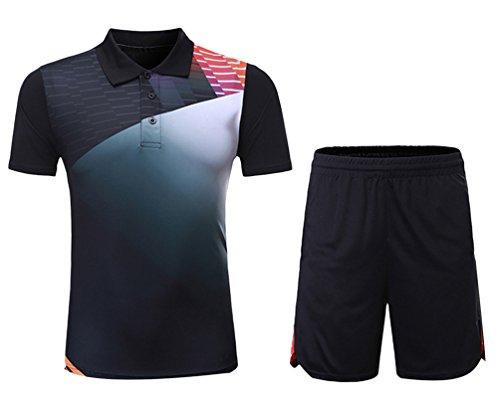 Kuncg Badminton Kleidung Anzug Benutzerdefinierte Frühling Sommer Herren und Jungen Sportbekleidung Schnell Trocknende Kurzärmelige Freizeitkleidung Schwarz 4XL