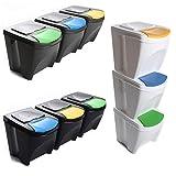Mülleimer Abfalleimer Mülltrennsystem 60L - 3x20L Behälter Sorti Box Müllsortierer 3 Farben von rg-vertrieb (Grau)