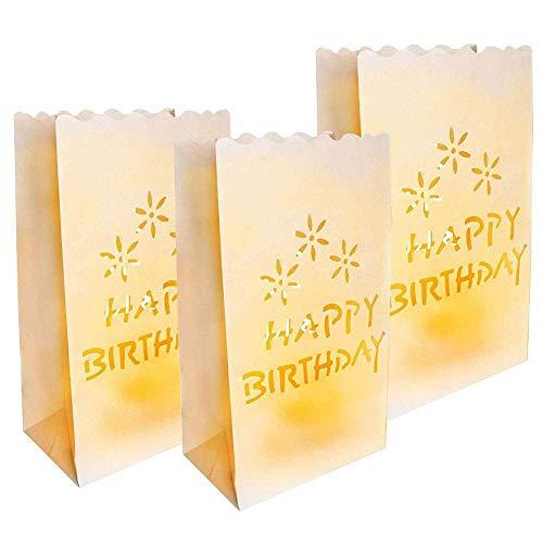 InTVN - Sacchetti di carta per candele con scritta 'Happy Birthday', colore: bianco, 20 pezzi