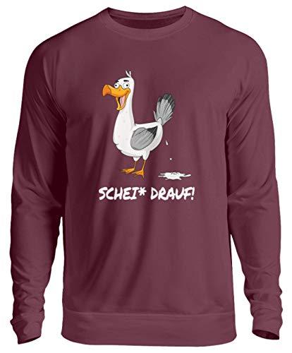 Möwe Scheiß Drauf Möwenscheiße Ostsee Nordsee lustiges Sweatshirt ist egal - Unisex Pullover -L-Burgundy