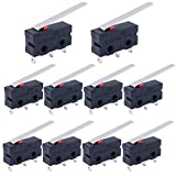 Twidec /10Pcs Mini Micro Limit Switch 5A 125 250V AC SPDT 1NO 1NC Long Straight Hinge Lever Arm Switch Snap Action Button Type 3 Pins KW11-3Z03