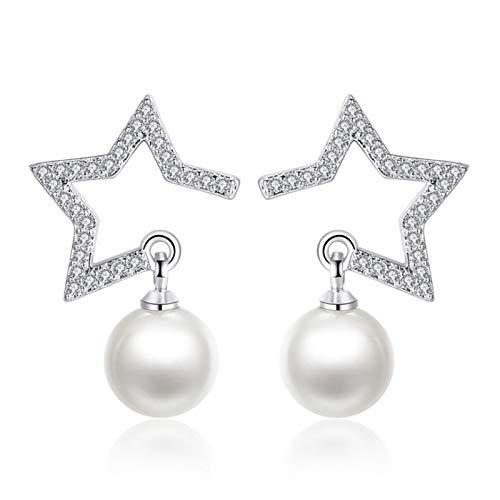 Bijoux en Argent 925 Cristal Zircon Star Imitation Pearl Boucles d'oreilles pour Femmes