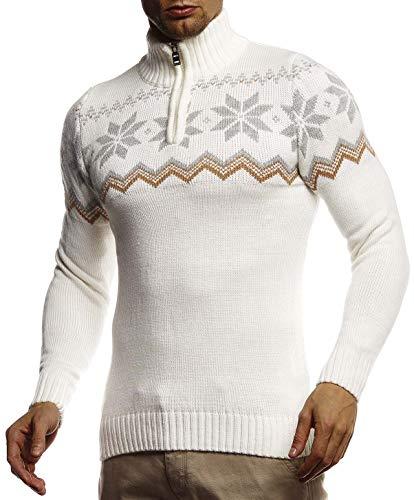 Leif Nelson gebreide trui voor heren met Noors patroon grof gebreide trui voor Kerstmis winter SIM Fit LN20758