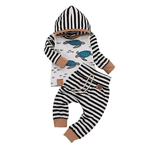 TTLOVE 3 PCS Babykleidung Satz, Neugeborenes Baby Mädchen Jungen Niedlich Feder Lange Ärmel T-Shirt Tops + gestreifte Hosen Ausstattungs Kleidung Satz (0-24Monate)(Weiß F,90 cm)