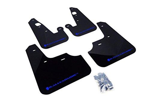 Rally Armor MF8-UR-BLK/BL Black, Blue Mud Flap with Logo (2007+ Mitsubishi Lancer (Doesn't fit Sport Back) UR)