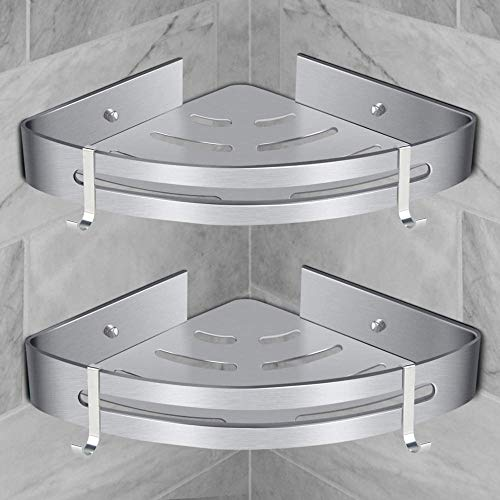 MIDVT Estantería de ducha sin taladrar, Estante de Ducha Estante de ducha con 2 ganchos, cesta de ducha de aluminio, inoxidable, estantería esquinera, para cuarto de baño o cocina - Plateado 2 Piezas