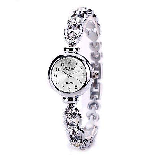 Tensay - Reloj de pulsera para mujer, diseño de diamantes de imitación, analógico, aleación de cuarzo, reloj de pulsera para mujer y niña, regalo para novia, color dorado y plateado, Plateado