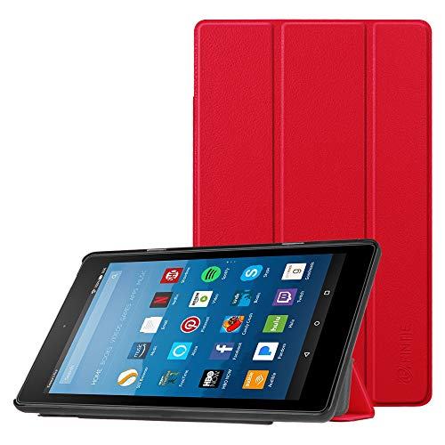 FINTIE Slim Case for Amazon Fire HD 8 Tablet (7th and 8th Generation Tablets, 2017 and 2018 Releases), Ultra Lightweight SlimShell Standing Cover with Auto Wake/Sleep, Red