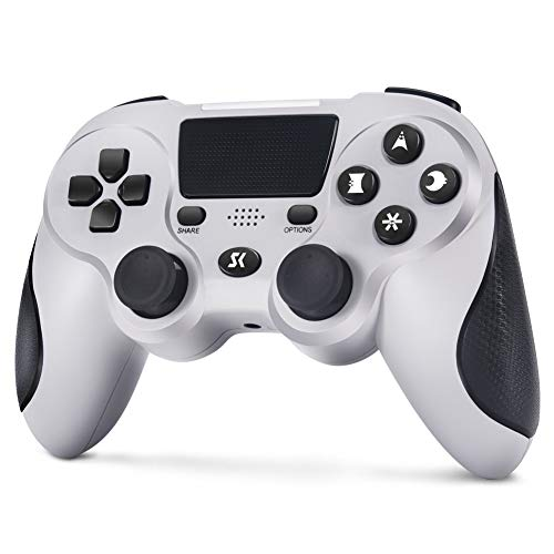 Wireless Controller für PS4, Controller Gamepad für PS4 Doppelte Vibration mit 3,5mm Audiobuchse, Anti Rutsch Griff & Touchpad für PlayStation 4 Pro / Slim (Ultimatives Grau)