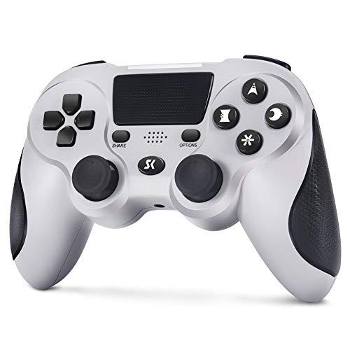 Wireless Controller für PS4, Controller Gamepad für PS4 Doppelte Vibration mit 3,5mm Audiobuchse, Anti Rutsch Griff & Touchpad für PlayStation 4 Pro / Slim (Ultimatives Grau)
