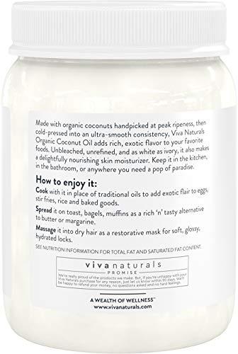 Product Image 2: Viva Naturals Organic Extra Virgin Coconut Oil (54 Oz) – Non-Gmo Cold Pressed