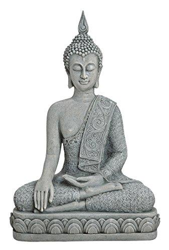 Geschenkestadl XL Buddha Figur sitzend 39cm groß grau Feng Shui Buddhismus