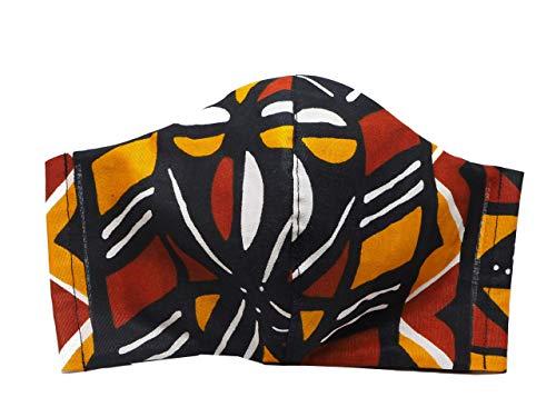 Masqué Tissu Wax Doublé Lavable Réutilisable Bogolan Noir Marron