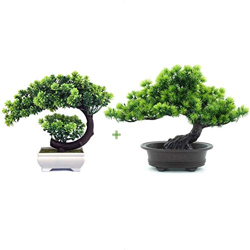 YOERM Living Room Decor Greenery Artificial Bonsai Tree Fake Plant for Home Office Hotel Decoration (2-Pack)