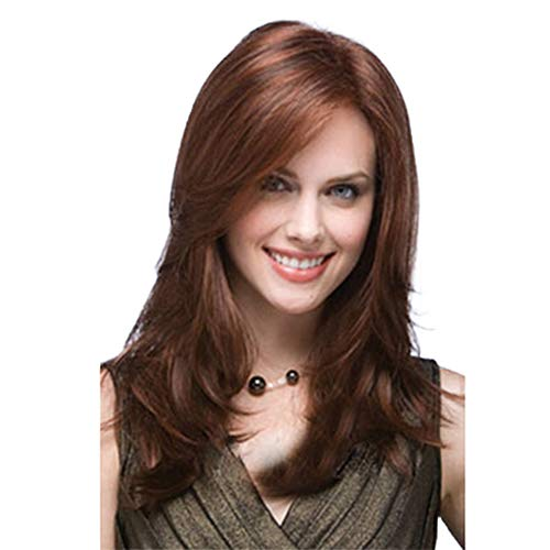 Fleurapance Damenperücke, mittellang, gewellt, kurz, glattes Haar, braune Perücke, hochwertig, hitzebeständig, blond, synthetisch, wie Echthaar-Perücken