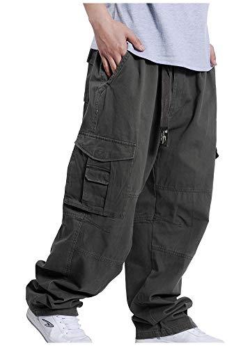 Pantaloni Cargo da Uomo Stile Stile Pantaloni Hip-Hop Casual Stile Semplice Pantaloni Larghi con Gamba Dritta Stile Slip Bag Larghi (Color : Army Grün, Size : XL)