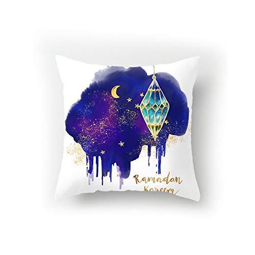 Fundas de cojín de Ramadán Fundas de Almohada Decorativas Fundas de Almohada de decoración de sofá musulmán + Acolchado Incorporado de algodón 45x45 cm (Color : B)