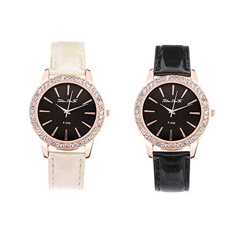 Souarts Damen Armbanduhr Quartzuhr Analog Strass Deko PU Leder Armband Uhr mit Batterie (Weiss+Schwarz)