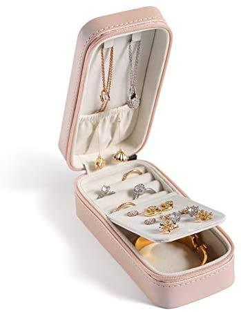 OH Pequeño Joyería de Viaje Organizador Puños Portátil Puños Pendientes de Cuero Collar de Anillo Caja de Joyería Joyería Caja Pendiente Pendiente Moda