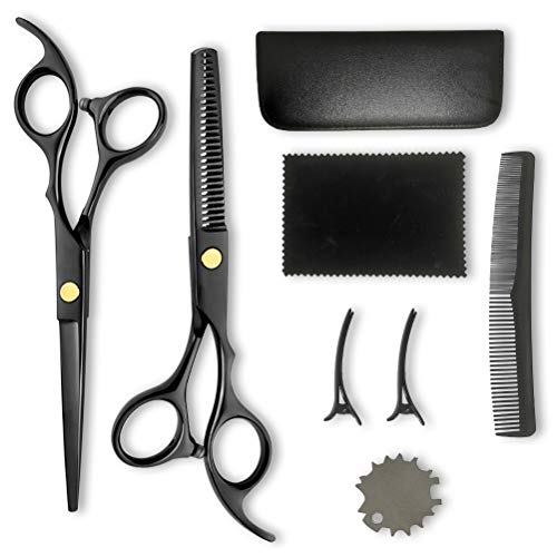 Hair Cutting Kit for Men Women Kids Pets, 8 pcs Professional Home Hair Scissors Thinning Shears with Clips & Comb (6 inch Black)