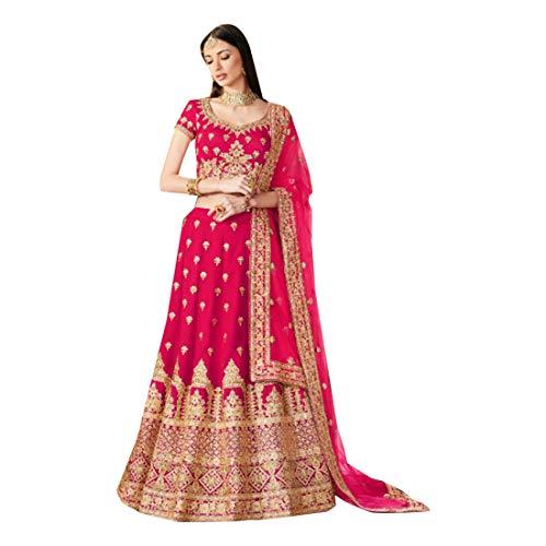 pink Bollywood Designer Partykleid Braut die Linen Seide Bridal Lehenga Choli Ghagra Top Rock Dress Dupatta Dupatta Damenkleid Traditionelle...