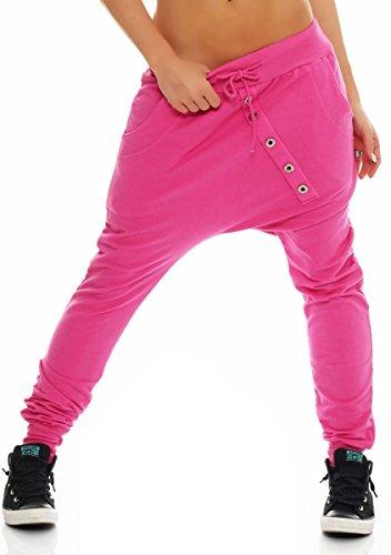 Malito Damen Sweathose in Unifarben   Baggy zum Tanzen   Jogginghose mit Knopfleiste   Sweatpants - Trainingshose 8023 (pink)
