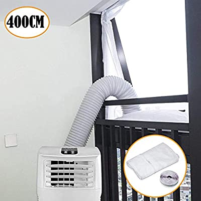 QmSki 400CM AirLock Universal Window Seal for Portable Air Conditioner Tumble Dryer Mobile Air Conditioning Flexible Soft Cloth Sealing Baffle Plate Air Exchange Guards with Zip and Adhesive Fastener